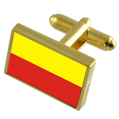 Ceska Budejovice City Czech Republic Gold Flag Cufflinks Engraved Box