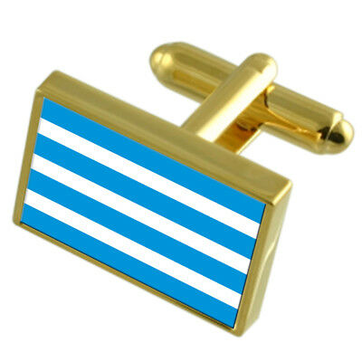 Most City Czech Republic Gold Flag Cufflinks Engraved Box