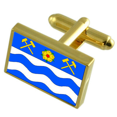 Havirov City Czech Republic Gold Flag Cufflinks Engraved Box