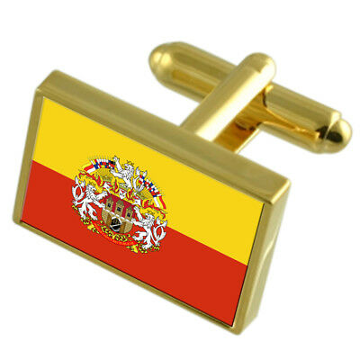 Prague City Czech Republic Gold Flag Cufflinks Engraved Box