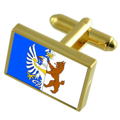 Kladno City Czech Republic Gold Flag Cufflinks Engraved Box