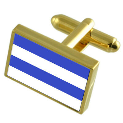 Oslo City Norway Gold Flag Cufflinks Engraved Box