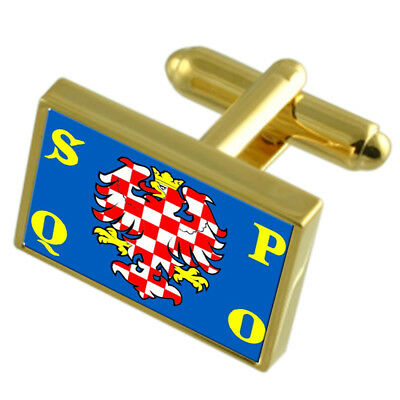 Olomouc City Czech Republic Gold Flag Cufflinks Engraved Box