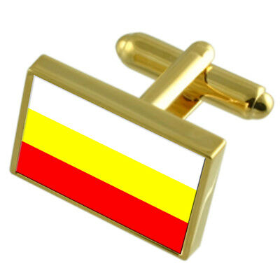 Hradec Kralove City Czech Republic Gold Flag Cufflinks Engraved Box