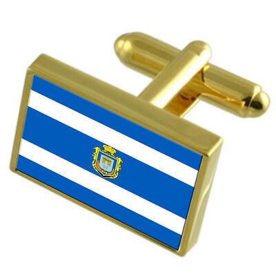 Sandefjord City Norway Gold Flag Cufflinks Engraved Box
