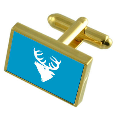 Hitra City Norway Gold Flag Cufflinks Engraved Box