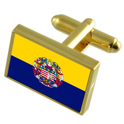 Houston City USA Flag Cufflinks Engraved Box