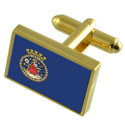 Oslo Norway Gold Flag Cufflinks Engraved Box