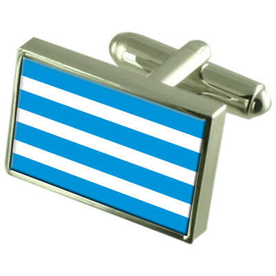 Most City Czech Republic Sterling Silver Flag Cufflinks Engraved Box