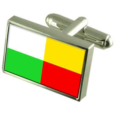 Plzen City Czech Republic Sterling Silver Flag Cufflinks Engraved Box