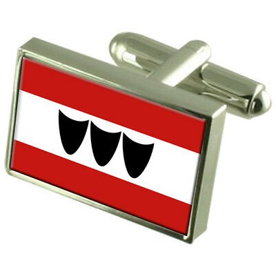 Trebic City Czech Republic Sterling Silver Flag Cufflinks Engraved Box