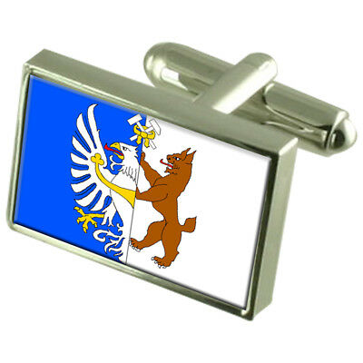 Kladno City Czech Republic Sterling Silver Flag Cufflinks Engraved Box