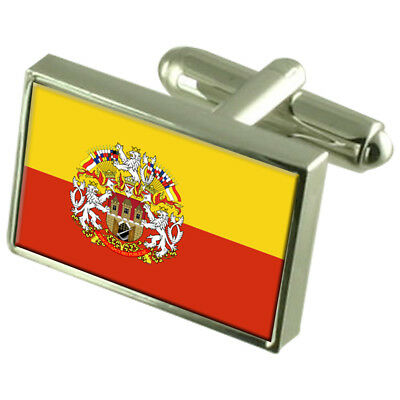 Prague City Czech Republic Sterling Silver Flag Cufflinks Engraved Box