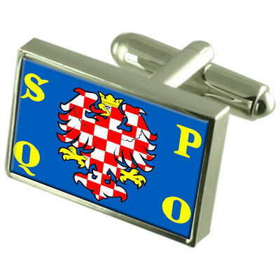 Olomouc City Czech Republic Sterling Silver Flag Cufflinks Engraved Box