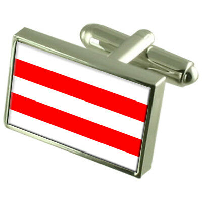 Usti Nad Labem City Czech Republic Sterling Silver Flag Cufflinks Engraved Box