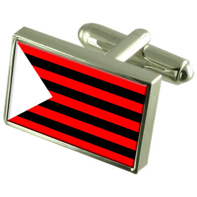 Omsk City Russia Sterling Silver Flag Cufflinks Engraved Box