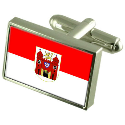 Liberec City Czech Republic Sterling Silver Flag Cufflinks Engraved Box