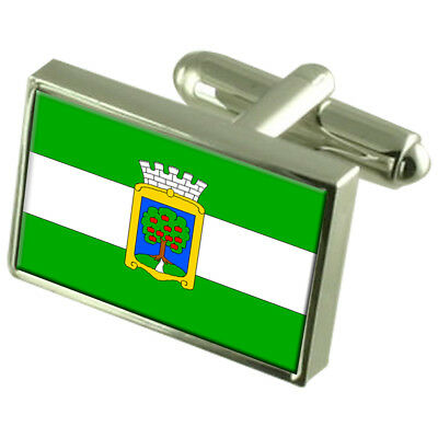 Jablonec Nad Nisou City Czech Republic 925 Silver Flag Cufflinks Engraved Box