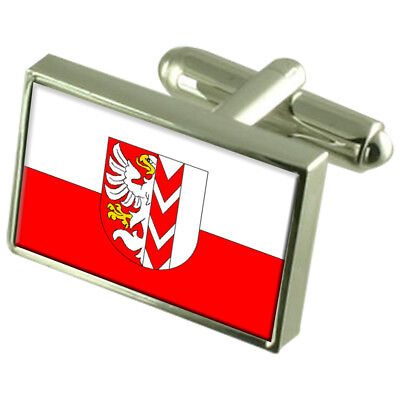 Opava City Czech Republic Sterling Silver Flag Cufflinks Engraved Box