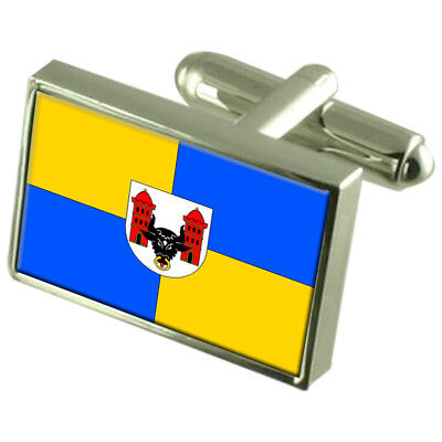 Prerov City Czech Republic Sterling Silver Flag Cufflinks Engraved Box