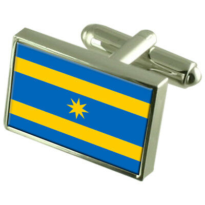 Zlin City Czech Republic Sterling Silver Flag Cufflinks Engraved Box