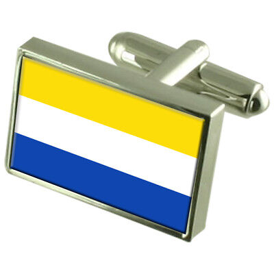Marianske Lazne City Czech Republic Sterling Silver Flag Cufflinks Engraved Box