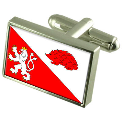 Jihlava City Czech Republic Sterling Silver Flag Cufflinks Engraved Box