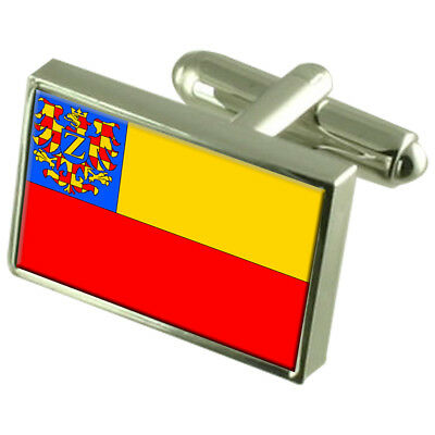 Znojmo City Czech Republic Sterling Silver Flag Cufflinks Engraved Box