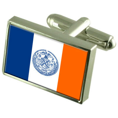 New York City City Usa Sterling Silver Flag Cufflinks Engraved Box