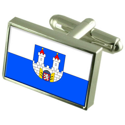 Chomutov City Czech Republic Sterling Silver Flag Cufflinks Engraved Box