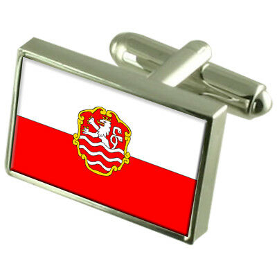Karlovy Vary City Czech Republic Sterling Silver Flag Cufflinks Engraved Box