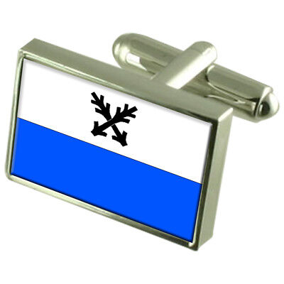 Ceska Lipa City Czech Republic Sterling Silver Flag Cufflinks Engraved Box