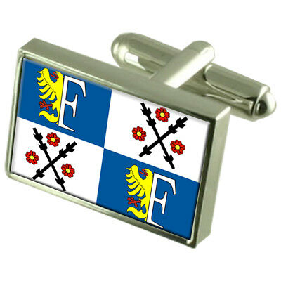 Frydek Mistek City Czech Republic Sterling Silver Flag Cufflinks Engraved Box