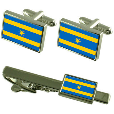 Zlin City Czech Republic Flag Cufflinks Tie Clip Box Gift Set
