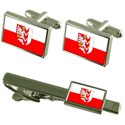 Opava City Czech Republic Flag Cufflinks Tie Clip Box Gift Set