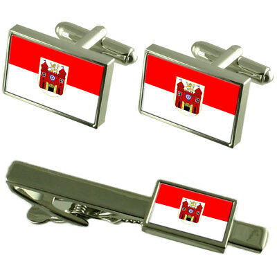 Liberec City Czech Republic Flag Cufflinks Tie Clip Box Gift Set