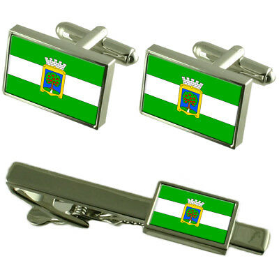 Jablonec Nad Nisou City Czech Republic Flag Cufflinks Tie Clip Box Gift Set