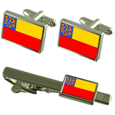 Znojmo City Czech Republic Flag Cufflinks Tie Clip Box Gift Set