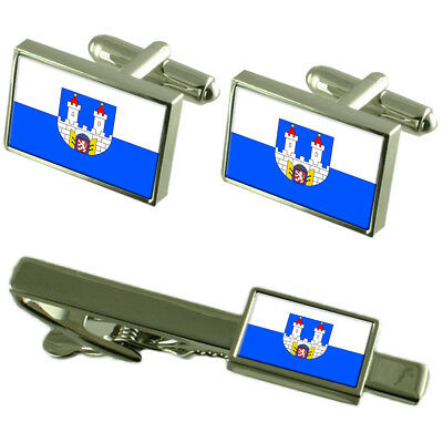 Chomutov City Czech Republic Flag Cufflinks Tie Clip Box Gift Set