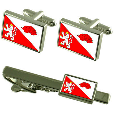 Jihlava City Czech Republic Flag Cufflinks Tie Clip Box Gift Set
