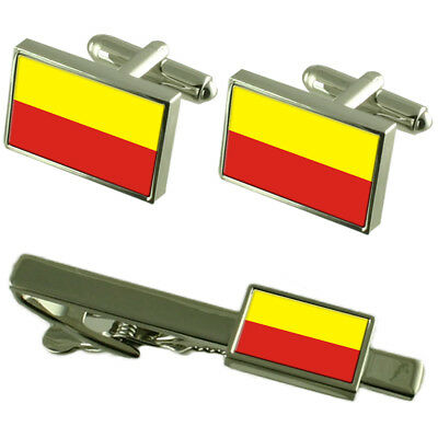 Ceska Budejovice City Czech Republic Flag Cufflinks Tie Clip Box Gift Set