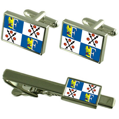 Frydek Mistek City Czech Republic Flag Cufflinks Tie Clip Box Gift Set
