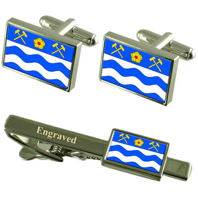 Havirov City Czech Republic Flag Cufflinks Engraved Tie Clip Set