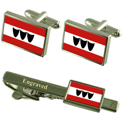 Trebic City Czech Republic Flag Cufflinks Engraved Tie Clip Set