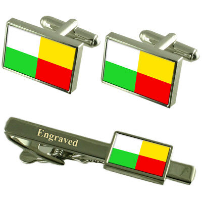 Plzen City Czech Republic Flag Cufflinks Engraved Tie Clip Set