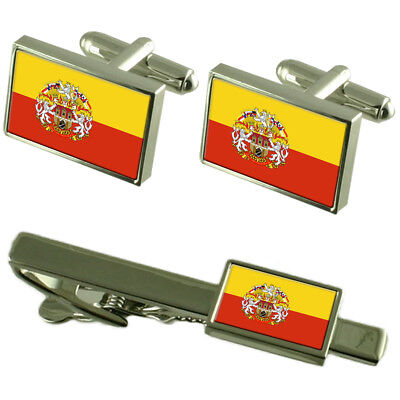 Prague City Czech Republic Flag Cufflinks Tie Clip Box Gift Set