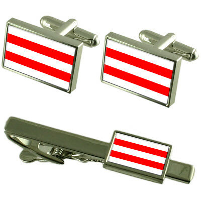 Usti Nad Labem City Czech Republic Flag Cufflinks Tie Clip Box Gift Set