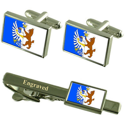Kladno City Czech Republic Flag Cufflinks Engraved Tie Clip Set