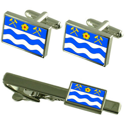 Havirov City Czech Republic Flag Cufflinks Tie Clip Box Gift Set
