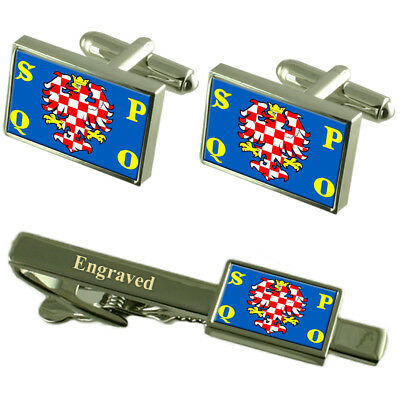 Olomouc City Czech Republic Flag Cufflinks Engraved Tie Clip Set
